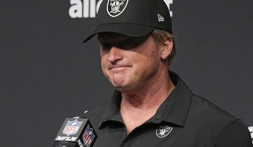 Las Vegas Raiders head coach Jon Gruden speaks during a news conference after an NFL football game against the Chicago Bears, Sunday, Oct. 10, 2021, in Las Vegas. (AP Photo/Rick Scuteri)