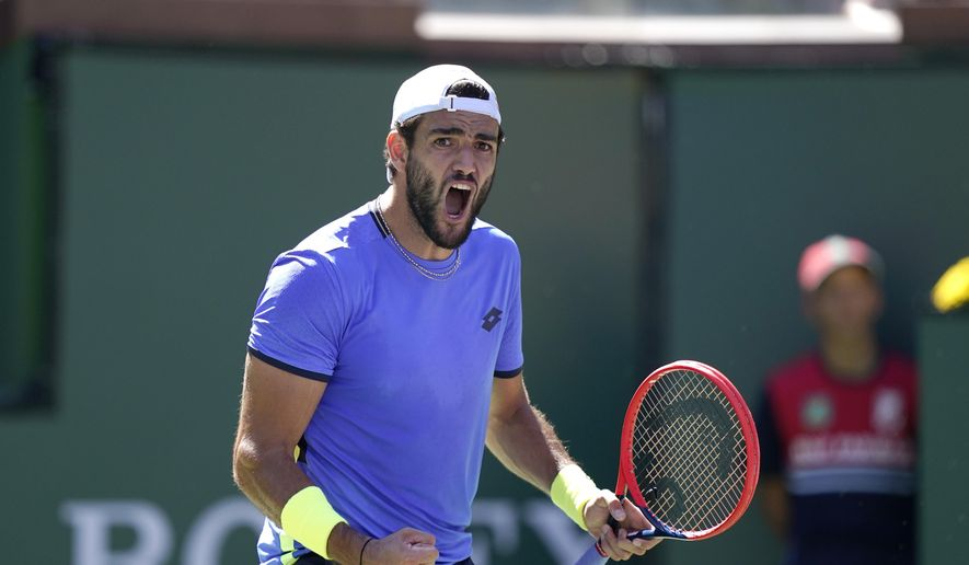 Matteo Berrettini, of Italy, reacts after beating Alejandro Tabilo, of Chile, in a match at the BNP Paribas Open tennis tournament Sunday, Oct. 10, 2021, in Indian Wells, Calif. (AP Photo/Mark J. Terrill)