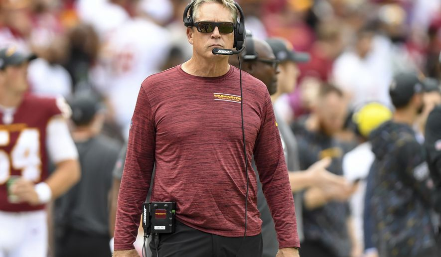 Washington Football Team defensive coordinator Jack Del Rio looks on from the sideline during an NFL football game against the New Orleans Saints, Sunday, Oct. 10, 2021, in Landover, Md. (AP Photo/Terrance Williams)
