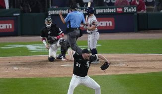 Chicago White Sox relief pitcher Liam Hendriks reacts to the final out against the Houston Astros in the ninth inning during Game 3 of a baseball American League Division Series Sunday, Oct. 10, 2021, in Chicago. (AP Photo/Charles Rex Arbogast) **FILE**