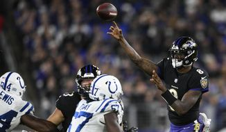 Baltimore Ravens quarterback Lamar Jackson (8) throws the ball during the second half of an NFL football game against the Indianapolis Colts, Monday, Oct. 11, 2021, in Baltimore. (AP Photo/Nick Wass) **FILE**