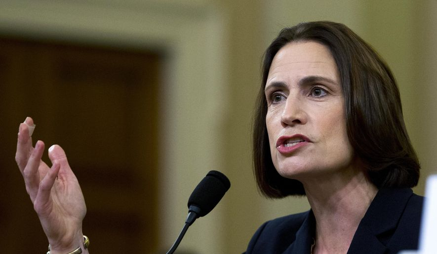 In this Nov. 21, 2019, file photo, former White House national security aide Fiona Hill, testifies before the House Intelligence Committee on Capitol Hill in Washington. (AP Photo/Jose Luis Magana, File)