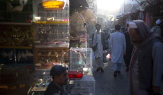 Afghans walk through a market in Kabul, Afghanistan, Tuesday, Oct. 12, 2021. (AP Photo/Ahmad Halabisaz)
