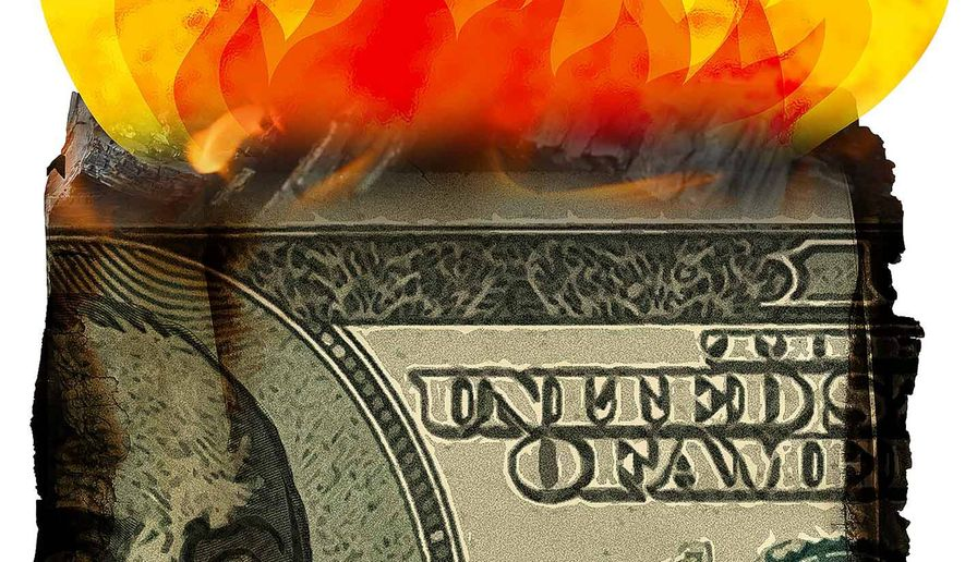 Burning Money over Inflation Illustration by Greg Groesch/The Washington Times