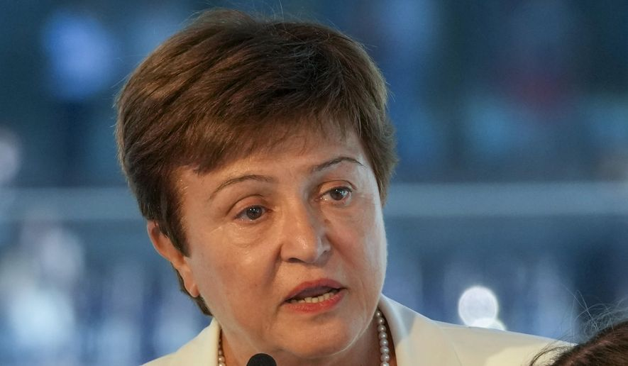 In this Sept. 6, 2021, file photo, Kristalina Georgieva, managing director of the International Monetary Fund (IMF), delivers a speech during the opening ceremony for the Floating Office where a high-level dialogue on climate adaptation takes place in Rotterdam, Netherlands. (AP Photo/Peter Dejong, File)
