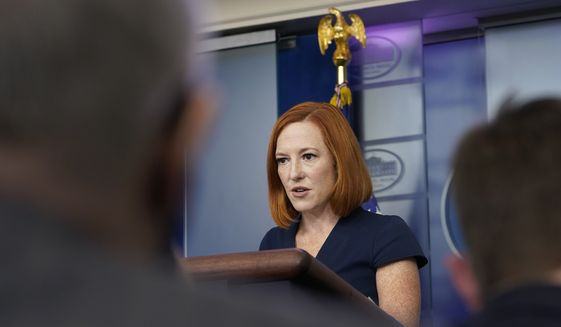 White House press secretary Jen Psaki speaks during the daily briefing at the White House in Washington, Wednesday, Oct. 13, 2021. (AP Photo/Susan Walsh)