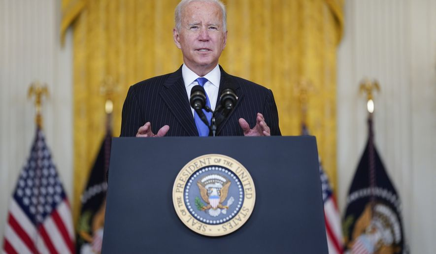 President Joe Biden delivers remarks on efforts to address global supply chain bottlenecks during an event in the East Room of the White House, Wednesday, Oct. 13, 2021, in Washington. (AP Photo/Evan Vucci)
