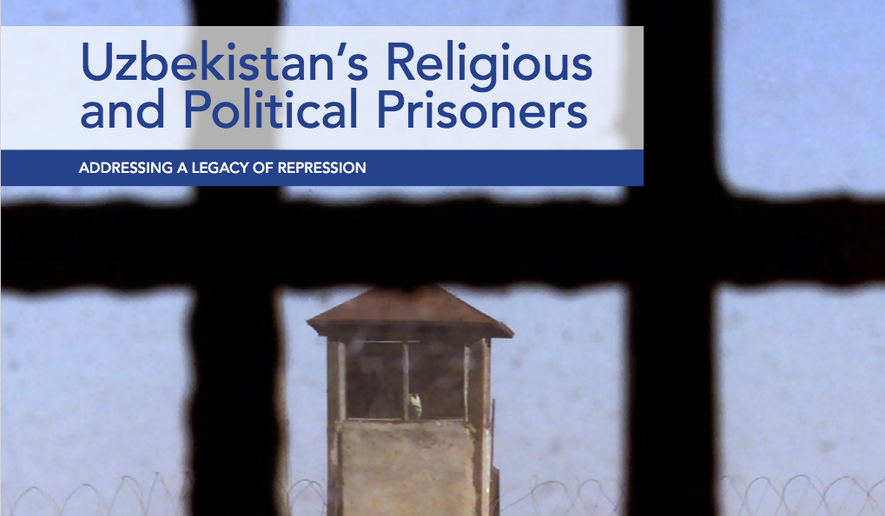 """The cover art for an October 2021 report on """"Uzbekistan's Religious and Political Prisoners"""" published by the U.S. Commission on International Religious Freedom is shown here. (www.uscirf.gov) [https://www.uscirf.gov/sites/default/files/2021-10/2021%20Uzbekistan%20Report_0.pdf]"""