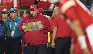 Kansas City Chiefs head coach Andy Reid watches from the sidelines during the first half of an NFL football game against the Buffalo Bills Sunday, Oct. 10, 2021, in Kansas City, Mo. (AP Photo/Charlie Riedel)