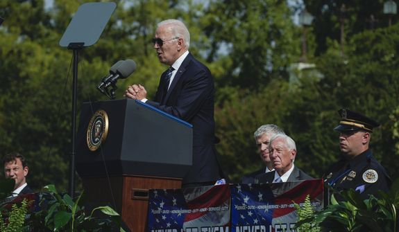 President Joe Biden speaks during a ceremony, honoring fallen law enforcement officers at the 40th annual National Peace Officers' Memorial Service at the U.S. Capitol in Washington, Saturday, Oct. 16, 2021. (AP Photo/Manuel Balce Ceneta)
