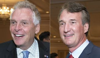 In this combination photo, Virginia gubernatorial candidates, Democrat Terry McAuliffe left, and Republican Glenn Youngkin appear during the Virginia FREE leadership luncheon, in McLean, Va., on Sept. 1, 2021. (AP Photo/Cliff Owen)