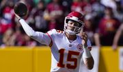 Kansas City Chiefs quarterback Patrick Mahomes (15) passing the ball during the first half of an NFL football game against the Washington Football Team, Sunday, Oct. 17, 2021, in Landover, Md. (AP Photo/Alex Brandon)