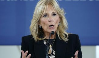 First lady Jill Biden speaks during a visit to Des Moines Area Community College in Ankeny, Iowa. (AP Photo/Charlie Neibergall)
