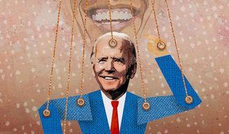 Obama the Biden Puppet Master Illustration by Greg Groesch/The Washington Times