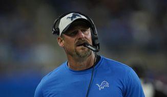 Detroit Lions head coach Dan Campbell watches against the Cincinnati Bengals during an NFL football game in Detroit, Sunday, Oct. 17, 2021. (AP Photo/Paul Sancya) **FILE**