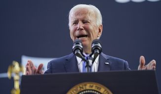 In this Friday, Oct. 15, 2021, file photo President Joe Biden speaks at the dedication of the Dodd Center for Human Rights at the University of Connecticut in Storrs, Conn. (AP Photo/Evan Vucci)