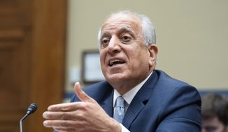 In this May 20, 2021, file photo, Special Representative for Afghanistan Zalmay Khalilzad speaks during a hearing on Capitol Hill in Washington. Khalilzad is stepping down following the chaotic American withdrawal from the country. The State Department says former ambassador to the United Nations and Afghanistan Zalmay Khalilzad will leave the post this week after more than three years on the job. (AP Photo/Jose Luis Magana, File)
