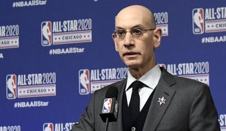 In this Feb. 15, 2020, file photo, NBA Commissioner Adam Silver speaks at a news conference in Chicago. With the pandemic still a major issue and concern, Silver believes the league has done all it can to prepare for the new season, which starts Tuesday, Oct. 19, 2021. (AP Photo/David Banks, File) **FILE**