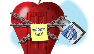 Illustration on the American Federation of Teachers and school re-openings by Alexander Hunter/The Washington Times