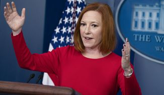 White House press secretary Jen Psaki speaks during a briefing at the White House, Tuesday, Oct. 19, 2021, in Washington. (AP Photo/Evan Vucci)