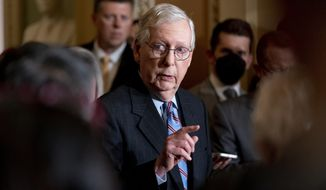Senate Minority Leader Mitch McConnell, R-Ky., speaks to reporters after a Republican strategy meeting at the Capitol in Washington, Tuesday, Oct. 19, 2021. (AP Photo/Andrew Harnik)
