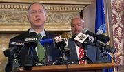 """FILE - In this July 27, 2021, file photo, Assembly Speaker Robin Vos speaks at the Capitol in Madison, Wis. Speaker Vos on Tuesday, Oct. 19, 2021, defended not releasing documents related to an ongoing investigation he ordered into the 2020 election, saying he believes the election was """"tainted"""" but that President Joe Biden won. (AP Photo/Scott Bauer, File)"""