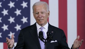 President Joe Biden speaks about his infrastructure plan and his domestic agenda during a visit to the Electric City Trolley Museum in Scranton, Pa., Wednesday, Oct. 20, 2021. (AP Photo/Susan Walsh) **FILE**