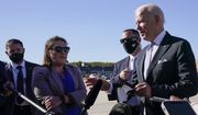 President Joe Biden speaks to reporters before boarding Air Force One at Andrews Air Force Base, Md., Wednesday, Oct. 20, 2021. Biden is traveling to his hometown of Scranton, Pa., to talk about infrastructure and his domestic agenda. (AP Photo/Susan Walsh)