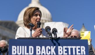 """House Speaker Nancy Pelosi of Calif., speaks about President Joe Biden's """"Build Back Better"""" plan at a news conference on Capitol Hill in Washington, Wednesday, Oct. 20, 2021. (AP Photo/Andrew Harnik)"""