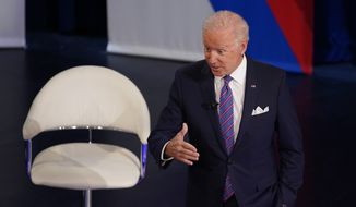 President Joe Biden participates in a CNN town hall at the Baltimore Center Stage Pearlstone Theater, Thursday, Oct. 21, 2021, in Baltimore. (AP Photo/Evan Vucci)