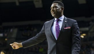Howard head coach Kenneth Blakeney talks to the referee during an NCAA college basketball game against Notre Dame in South Bend, ind., in this Tuesday, Nov. 12, 2019, file photo. The NBA is going to showcase historically Black colleges and universities at All-Star weekend again this season, announcing Thursday, Oct. 21, 2021, the matchup for the inaugural NBA HBCU Classic on Feb. 19. (Michael Caterina/South Bend Tribune via AP, File) **FILE**