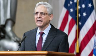 Attorney General Merrick Garland announces plans to combat mortgage lending discrimination, at the Justice Department in Washington, Friday, Oct. 22, 2021. (AP Photo/J. Scott Applewhite)