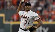 Houston Astros starting pitcher Luis Garcia throws against the Boston Red Sox during the first inning in Game 6 of baseball's American League Championship Series Friday, Oct. 22, 2021, in Houston. (AP Photo/Tony Gutierrez)