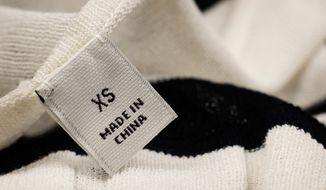 Made In China label. Photo credit: Audreycmk via Shutterstock. *FILE*