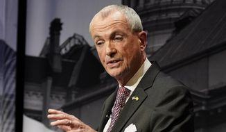 This photo from Tuesday, Oct. 12, 2021, shows Gov. Phil Murphy, D-N.J., during a gubernatorial debate at Rowan University in Glassboro, N.J. Murphy moved New Jersey to the left since he won election four years ago, but goes under a test that Democrats have not passed in recent years as he goes up against Republican challenger Jack Ciattarelli in this year's race for governor. (AP Photo/Frank Franklin II, Pool) **FILE**