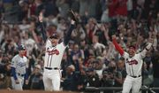 Atlanta Braves relief pitcher Will Smith celebrates after winning Game 6 of baseball's National League Championship Series against the Los Angeles Dodgers Sunday, Oct. 24, 2021, in Atlanta. The Braves defeated the Dodgers 4-2 to win the series. (AP Photo/Brynn Anderson) **FILE**