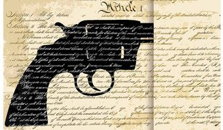 Illustration on race and the Second Amendment by Alexander Hunter/The Washington times