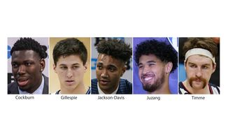 These are 2020 and 2021 file photos showing, from left; Illinois' Kofi Cockburn, Villanova's Collin Gillespie, Indiana's Trayce Jackson-Davis, UCLA's Johnny Juzang and Gonzaga's Drew Timme. Drew Timme of Gonzaga is the lone unanimous selection on The Associated Press preseason All-America NCAA college basketball team, announced Monday, Oct. 25, 2021. He was joined by Illinois big man Kofi Cockburn, UCLA guard Johnny Juzang, Villanova point guard Collin Gillespie and Indiana forward Trayce Jackson-Davis. (AP Photo/File) **FILE**