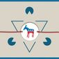 Illustration on Israel and the Democratic Party by Linas Garsys/The Washington Times