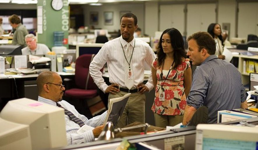 """** FILE ** Footage from HBO's """"The Wire"""" shows a scene from the show's final season, which interprets life at the Baltimore Sun newspaper."""