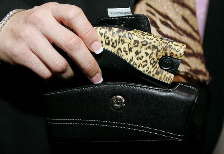 Associated Press Taser International boasted a leopard-print C2 stun gun available for $379.99, with an optional music-playing holster, at the Consumer Electronics Show, a technology convention held in Las Vegas.