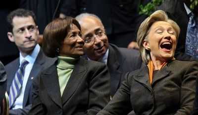 Sen. Hillary Rodham Clinton shared a laugh yesterday with Hazel Dukes, president of the New York chapter of the National Association for the Advancement of Colored People in Manhattan at an event honoring the legacy of Martin Luther King. (Agence France-Presse/Getty Images)