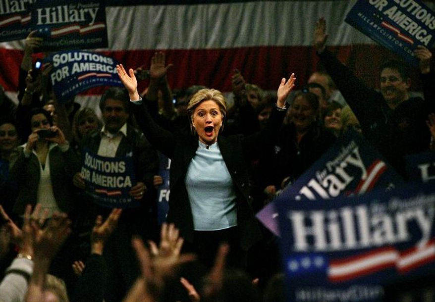 """Sen. Hillary Rodham Clinton said her campaign received a """"flood"""" of calls about voter intimidation among Culinary Workers Union members in Nevada. """"The evidence is pretty compelling,"""" she said."""