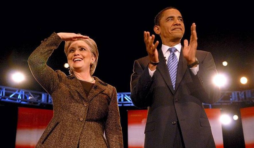 Sen. Hillary Rodham Clinton and Sen. Barack Obama attend a Democratic presidential candidates debate in the Wolstein Center at Cleveland State University in Cleveland, Ohio, Tuesday. It is the 20th time the two will face off.