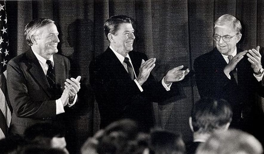 From left, William F. Buckley Jr., President Reagan and John McLaughlin attended a National Review reception in 1983. Mr. Buckley, who founded the magazine in 1955, died yesterday. (The Washington Times)