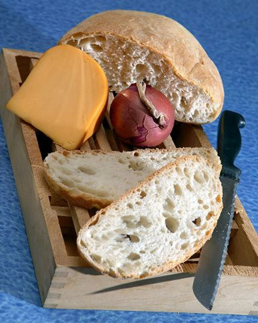 Cheese, bread and onion