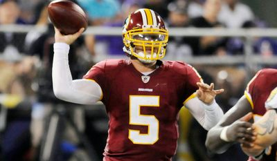 Photos by Peter Lockley / The Washington Times Chase Daniel (above) and Colt Brennan will play most of the snaps at quarterback in Thursday's preseason finale.